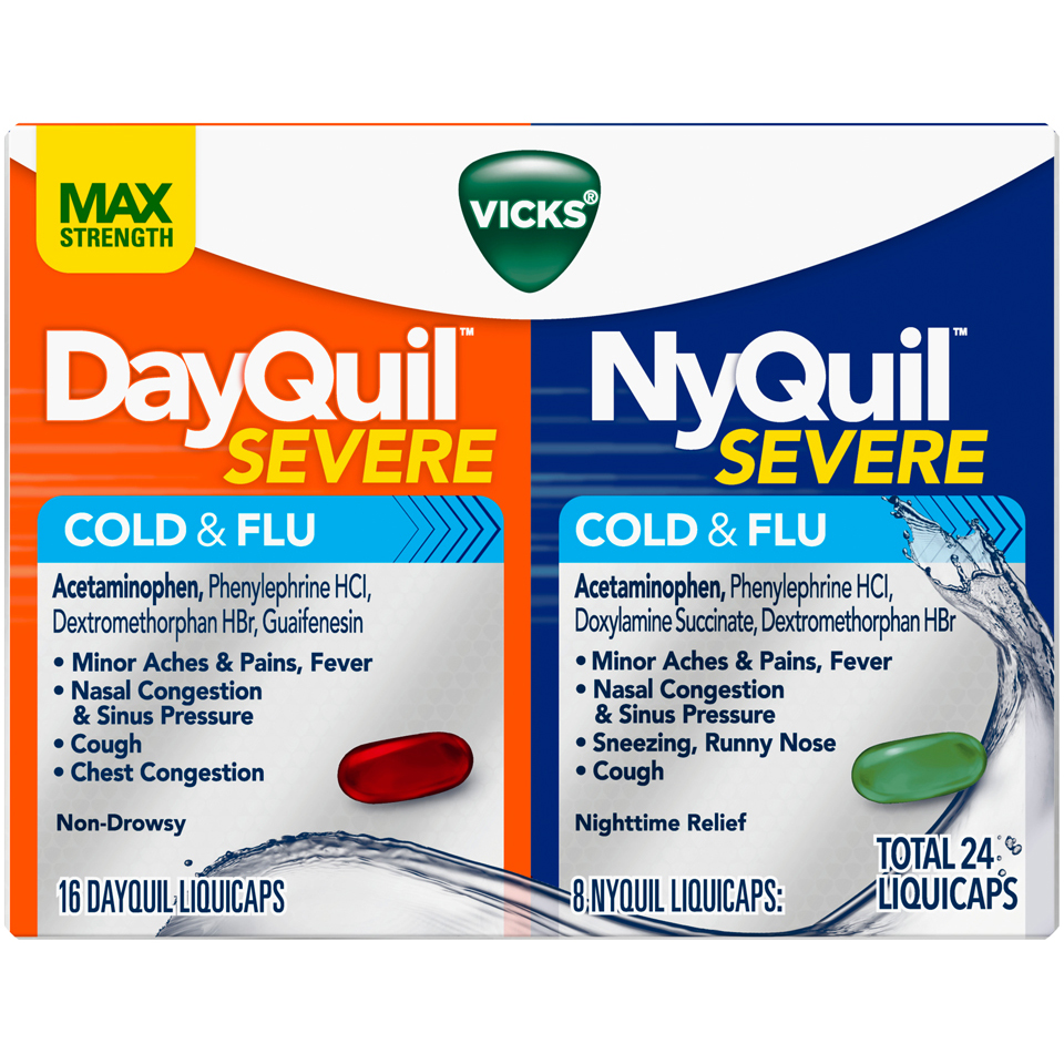 DayQuil NyQuil Severe Cold & Flu Liquidcaps Combo 24 Count